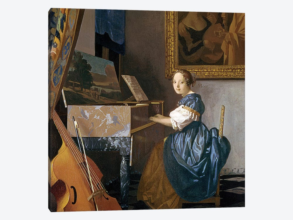 A Young Lady Seated At A Virginal, c.1670 by Johannes Vermeer 1-piece Art Print