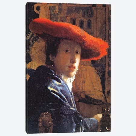 Girl With A Red Hat, c.1665 Canvas Print #BMN7126} by Johannes Vermeer Canvas Wall Art