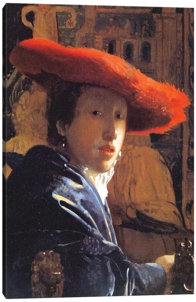 Girl With A Red Hat, c.1665 Canvas Art Print