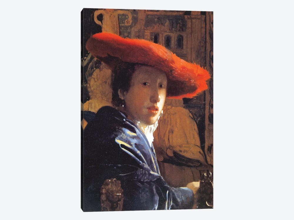 Girl With A Red Hat, c.1665 by Johannes Vermeer 1-piece Canvas Art