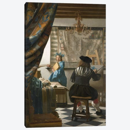 The Art Of Painting (Painter In His Studio), c.1665-66 Canvas Print #BMN7127} by Johannes Vermeer Canvas Artwork