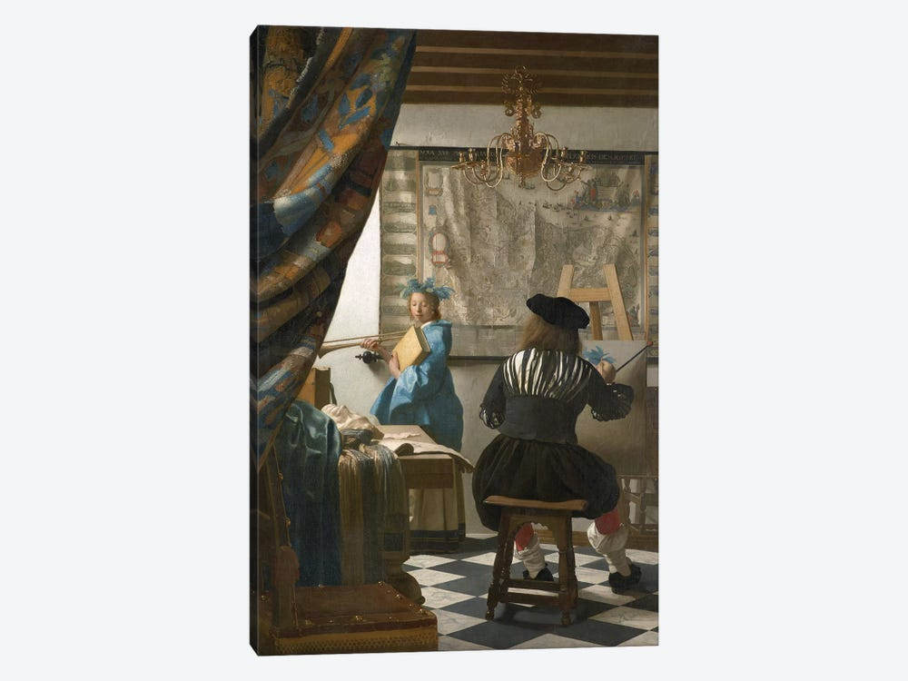 The Art Of Painting (Painter In His Studio), c.1665-66 by Johannes Vermeer 1-piece Canvas Print