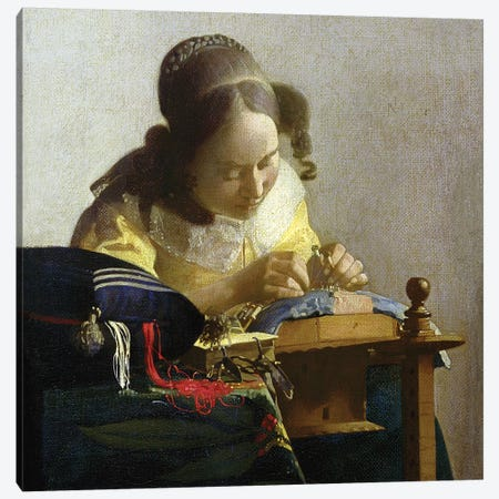 The Lacemaker, 1669-70 Canvas Print #BMN7128} by Johannes Vermeer Canvas Print