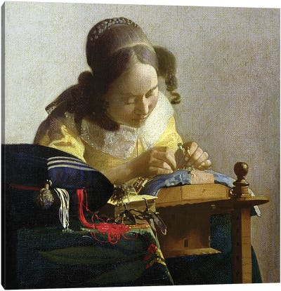 The Lacemaker, 1669-70 by Johannes Vermeer Canvas Art Print