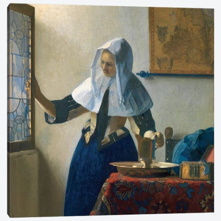 Young Woman With A Water Jug, c.1662 Canvas Print #BMN7129} by Johannes Vermeer Canvas Print
