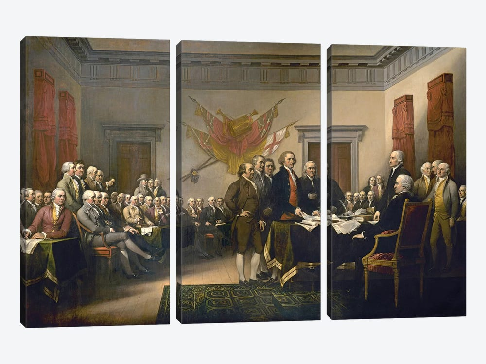 Declaration Of Independence, 1817-18 (US Capitol Collection) by John Trumbull 3-piece Canvas Art Print