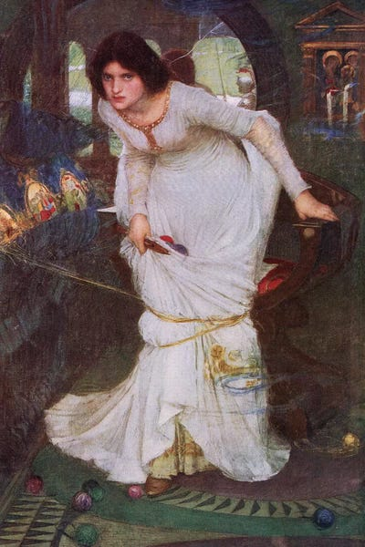 Poster John William Waterhouse The Lady of Shalott with Border