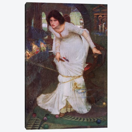 The Lady Of Shalott Looking At Lancelot (Lithograph From 1915 Edition Of Bibby's Annual)  Canvas Print #BMN7135} by John William Waterhouse Canvas Print