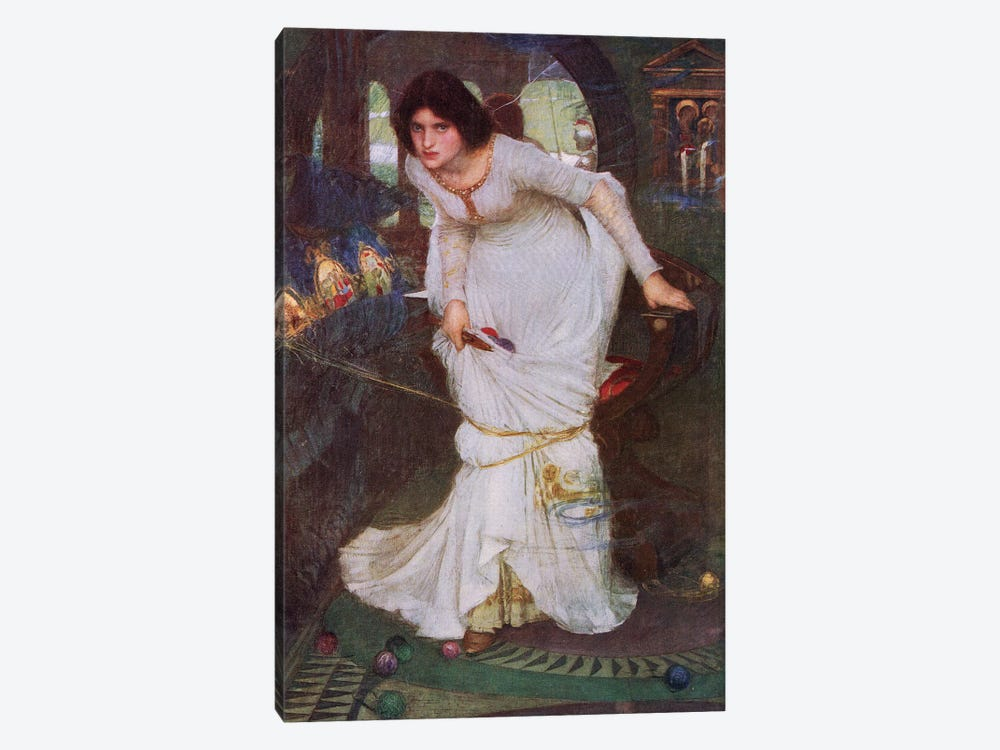 The Lady Of Shalott Looking At Lancelot (Lithograph From 1915 Edition Of Bibby's Annual)  by John William Waterhouse 1-piece Canvas Art
