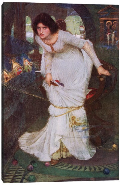 The Lady Of Shalott Looking At Lancelot (Lithograph From 1915 Edition Of Bibby's Annual)  Canvas Art Print