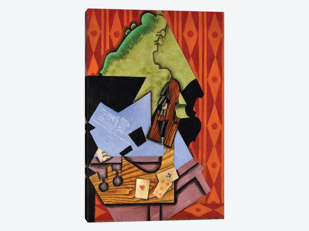 Violin And Playing Cards On A Table, 1913 1-piece Canvas Artwork