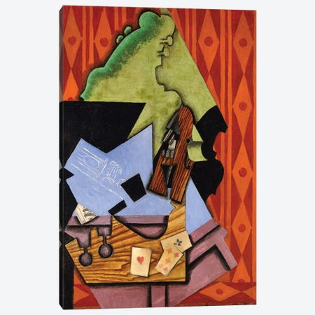 Violin And Playing Cards On A Table, 1913 Canvas Print #BMN7139} by Juan Gris Canvas Art