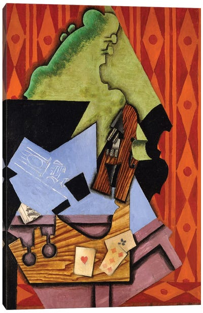 Violin And Playing Cards On A Table, 1913 Canvas Art Print