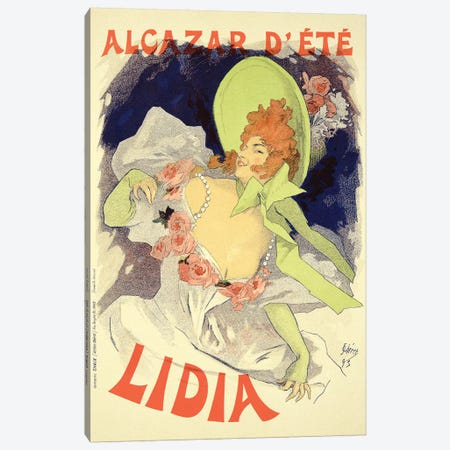 Lidia At The Alcazar d'Ete Advertisement , 1895 Canvas Print #BMN7140} by Jules Cheret Canvas Art Print