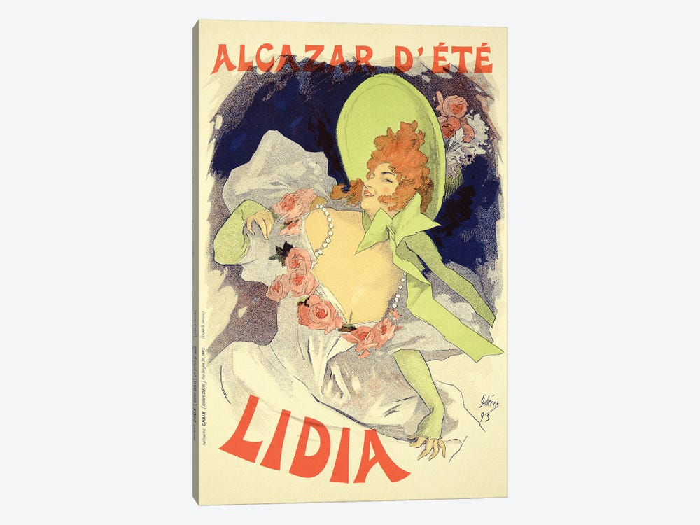 Lidia At The Alcazar d'Ete Advertisement , 1895 by Jules Cheret 1-piece Canvas Wall Art