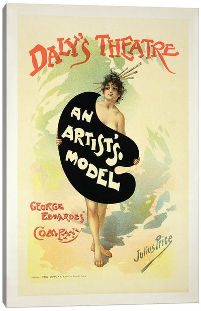 An Artist's Model By The George Edwardes' Company At Daly's Theatre Advertisement Canvas Art Print