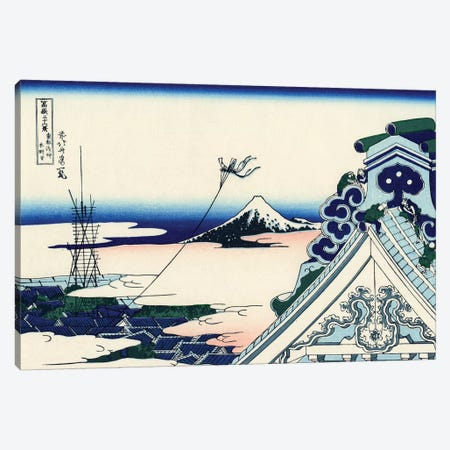 Asakusa Honganji Temple In The Eastern Capital, c.1830 Canvas Print #BMN7143} by Katsushika Hokusai Canvas Print