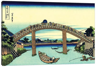 Fuji Seen Through The Mannen Bridge At Fukagawa, Edo, c.1830 Canvas Art Print
