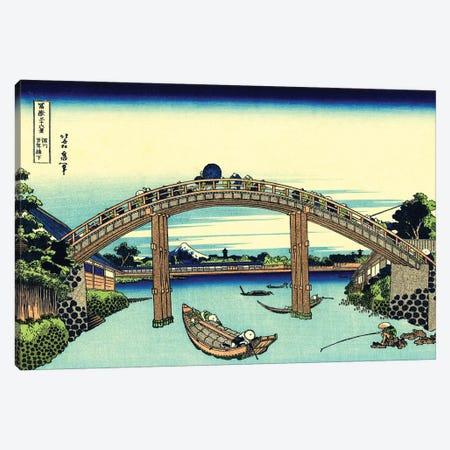 Fuji Seen Through The Mannen Bridge At Fukagawa, Edo, c.1830 Canvas Print #BMN7149} by Katsushika Hokusai Art Print