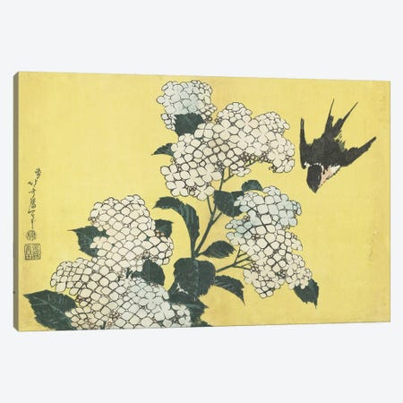 Hydrangea And Swallow, c.1832 Canvas Print #BMN7151} by Katsushika Hokusai Canvas Artwork