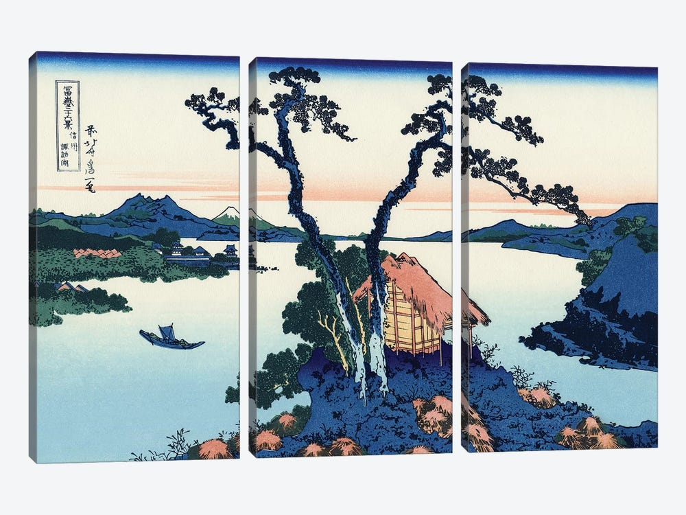 Lake Suwa In The Shinano Province, c.1830 by Katsushika Hokusai 3-piece Canvas Artwork
