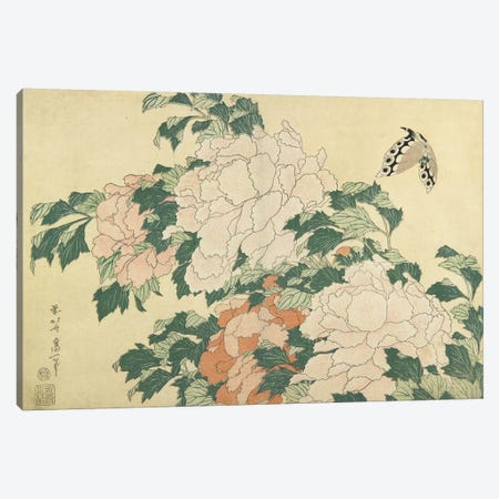 Peonies And Butterfly, c.1830-31 Canvas Print #BMN7155} by Katsushika Hokusai Art Print