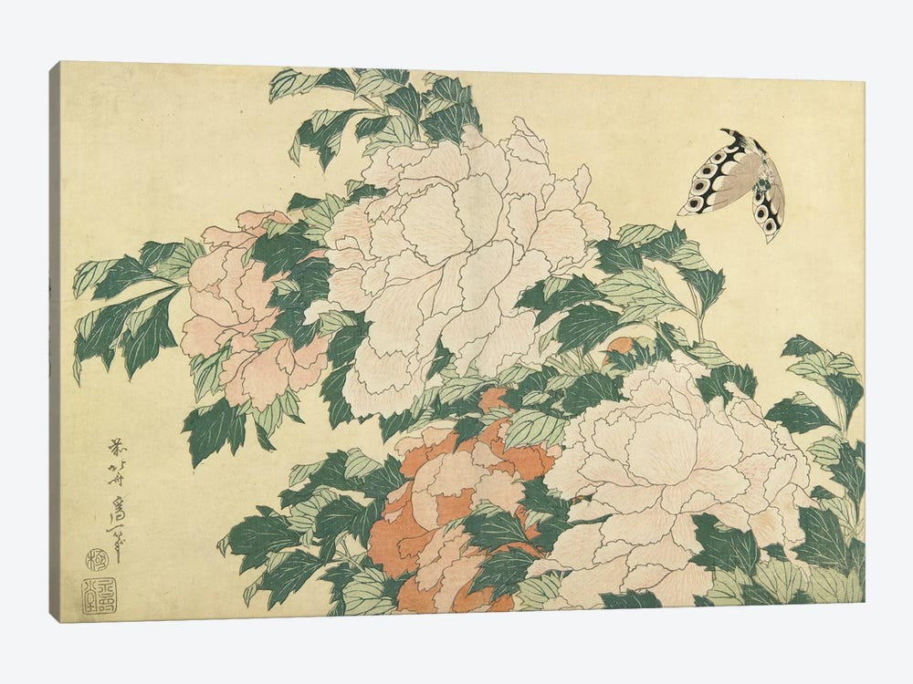 Peonies And Butterfly, c.1830-31 by Katsushika Hokusai 1-piece Canvas Art