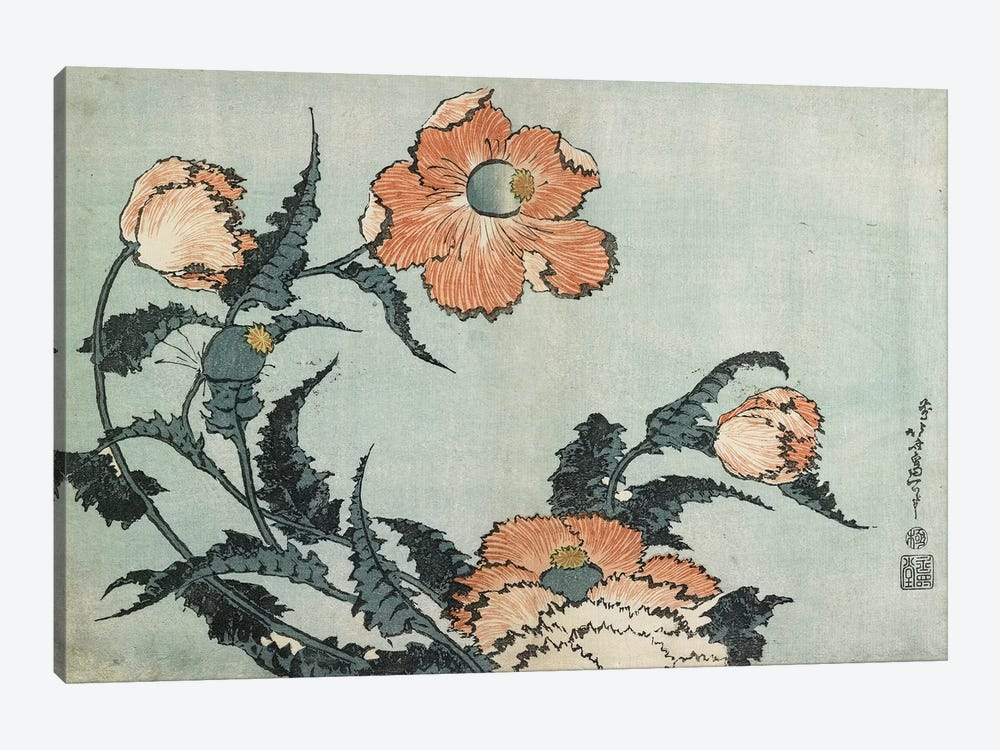 Poppies, c.1832 by Katsushika Hokusai 1-piece Canvas Print