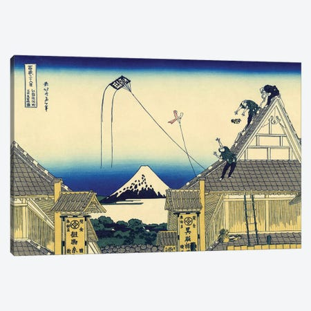 Sketch Of A Mitsui Shop On Suruga Street In Edo, c.1830 3-Piece Canvas #BMN7158} by Katsushika Hokusai Canvas Wall Art