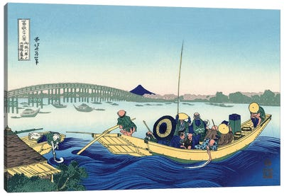 Sunset Across The Ryogoku Bridge From The Bank Of The Sumida River At Onmagayashi In Edo, c.1830 Canvas Art Print