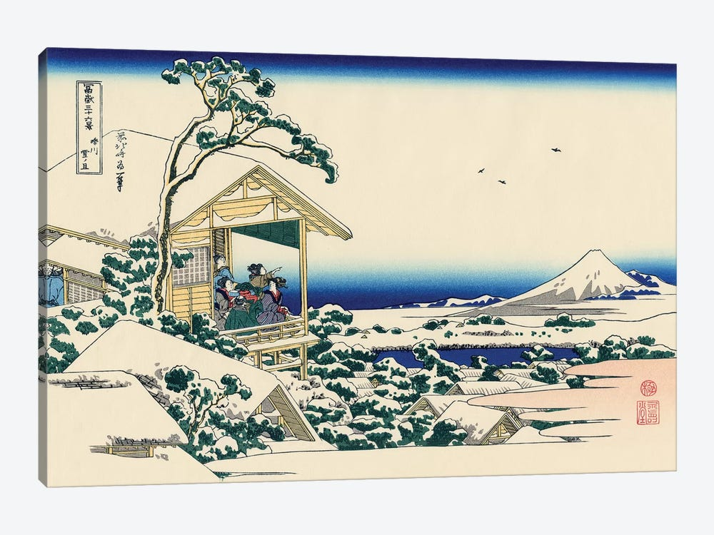 Tea House At Koishikawa, The Morning After Snowfall, c.1830 by Katsushika Hokusai 1-piece Canvas Wall Art