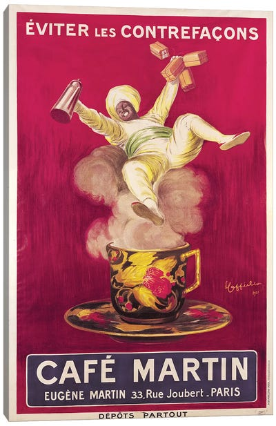 Café Martin Coffee Advertisement, 1921 Canvas Art Print