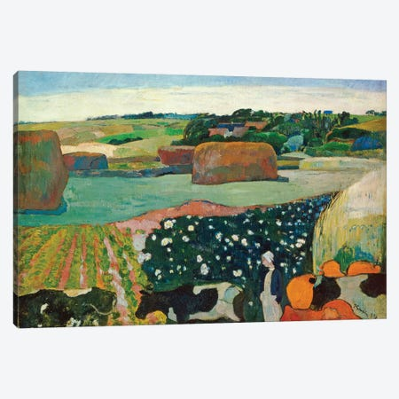 Haystacks In Brittany, 1890 Canvas Print #BMN7166} by Paul Gauguin Canvas Artwork