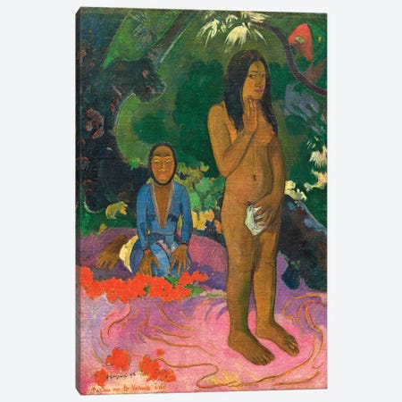 Parau na te Varua Ino (Words Of The Devil), 1892 Canvas Print #BMN7169} by Paul Gauguin Art Print