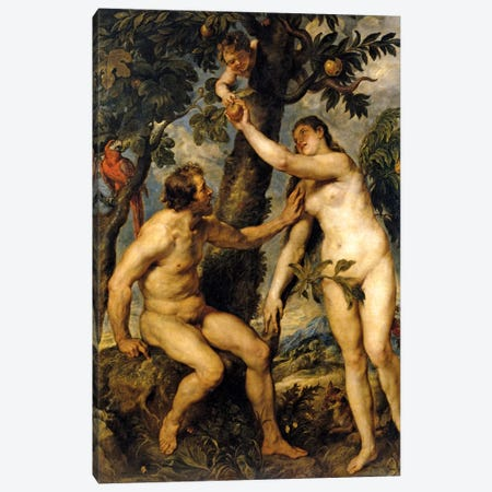 Adam And Eve (The Fall Of Man), 1628-29 Canvas Print #BMN7173} by Peter Paul Rubens Canvas Wall Art