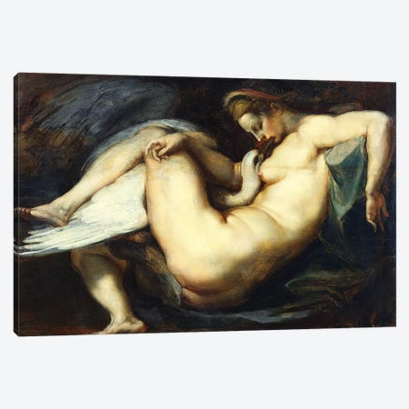 Leda And The Swan Canvas Print #BMN7174} by Peter Paul Rubens Art Print