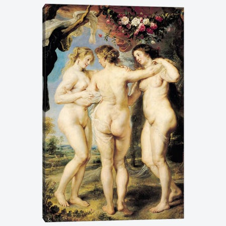 The Three Graces, c.1636-39 Canvas Print #BMN7179} by Peter Paul Rubens Canvas Wall Art