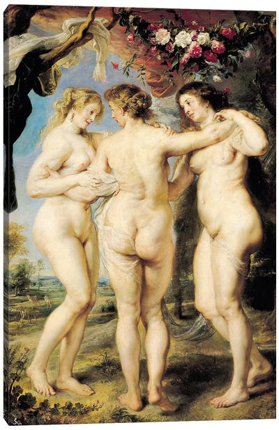 The Three Graces, c.1636-39 Canvas Art Print