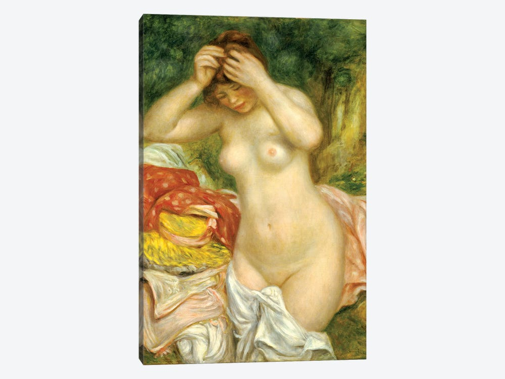 Bather Arranging Her Hair, 1893 by Pierre-Auguste Renoir 1-piece Canvas Art
