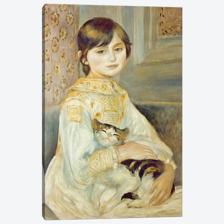 Julie Manet With Cat, 1887 Canvas Print #BMN7183} by Pierre-Auguste Renoir Art Print