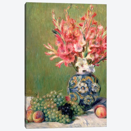 Still Life Of Fruits And Flowers, 1889 Canvas Print #BMN7186} by Pierre-Auguste Renoir Canvas Artwork