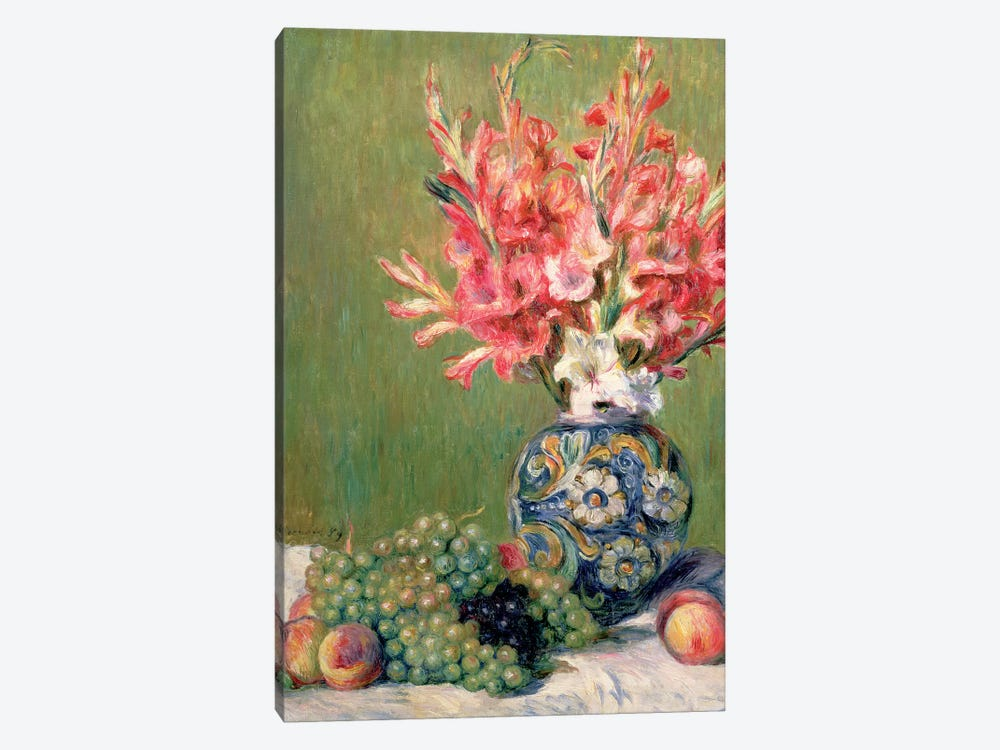 Still Life Of Fruits And Flowers, 1889 by Pierre-Auguste Renoir 1-piece Canvas Wall Art