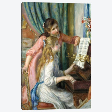 Two Young Girls At The Piano, 1892 Canvas Print #BMN7187} by Pierre-Auguste Renoir Canvas Artwork