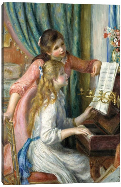 Two Young Girls At The Piano, 1892 Canvas Art Print