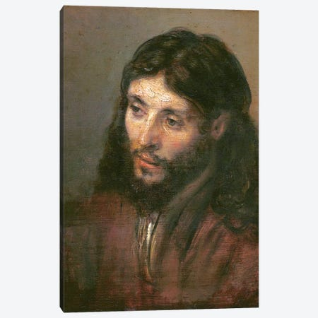 Head Of Christ, c.1648 (Gemaldegalerie) Canvas Print #BMN7193} by Rembrandt van Rijn Canvas Artwork