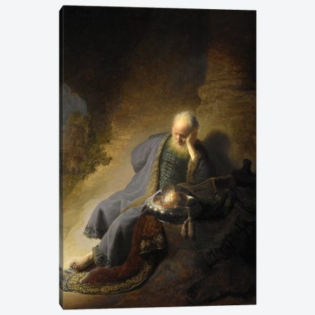 Jeremiah Lamenting Over The Destruction Of Jerusalem, 1630 Canvas Print #BMN7195} by Rembrandt van Rijn Canvas Print