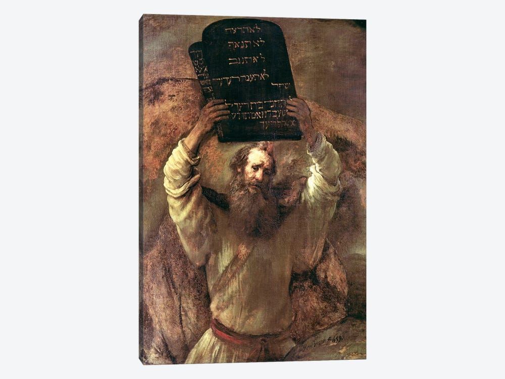 Moses Smashing The Tablets Of The Law, 1659 by Rembrandt van Rijn 1-piece Canvas Artwork