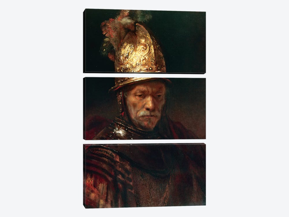 The Man With The Golden Helmet, 1650-55 by Rembrandt van Rijn 3-piece Canvas Art