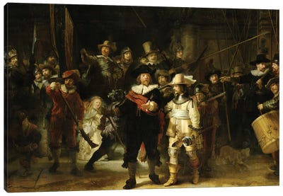 The Nightwatch (Militia Company Of District II Under The Command Of Captain Frans Banninck Cocq), 1642 Canvas Art Print