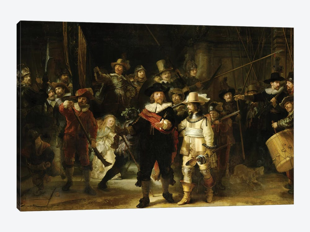The Nightwatch (Militia Company Of District II Under The Command Of Captain Frans Banninck Cocq), 1642 by Rembrandt van Rijn 1-piece Canvas Art Print